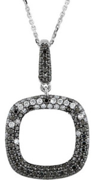 Incredible Black and White Diamond Rounded Square Outline Pendant in 14k White Gold for SALE - Choose Size - FREE Chain Included
