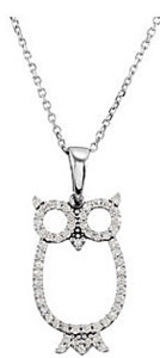 Fashionable 1/4ct Owl Shaped Diamond Pendant in 14k White Gold for SALE - FREE Chain Included - SOLD