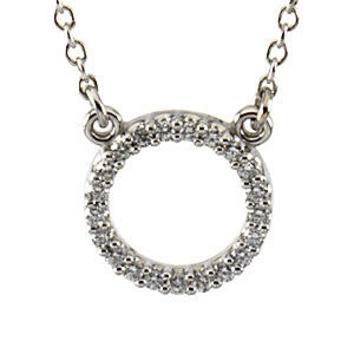 Alluring Platinum Circle 1/10ct Diamond Necklace for SALE