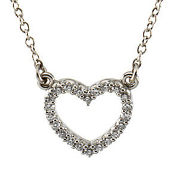 Dazzling Platinum 1/8 ct Diamond Heart Necklace for SALE