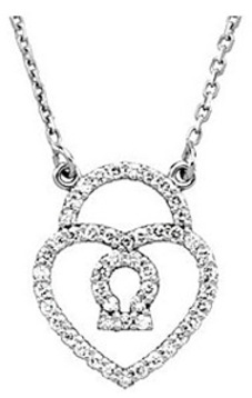 Sweet Heart Shaped Lock Pendant Studded in 1/4ct Diamonds Set in 14k White Gold - FREE Chain