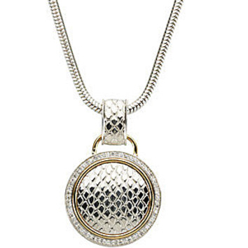 Luxurious Textured Sterling Silver and 14k Yellow Gold Circle Pendant with 1/3ct Diamond Outline - FREE Chain