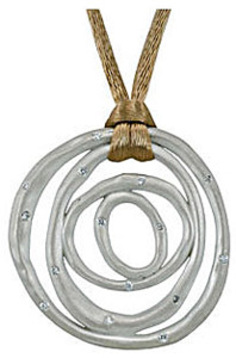 Urban Chic Sterling Silver Concentric Circle Pendant with .2ct Diamond Accents - Colorful Silk Cord