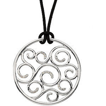 Fun and Flirty Sterling Silver Circle Pendant With .17ct Diamond Accented Swirls - FREE Black Leather Cord Chain