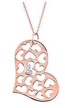 Fun and Cute .08ct Heart Cut Out Pendant in 14k Rose Gold - Diamond Cluster Heart Accent - FREE Chain Included
