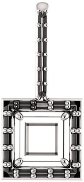 Halo Accented Pendant Mounting for Square Shape Centergem Sized 5.00 mm to 10.00 mm - Customize Metal, Accents or Gem Type
