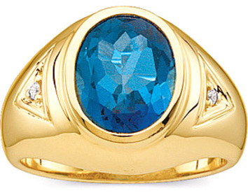 Stately Gents 6.04ct 12x10mm London Blue Topaz & Diamond - Heavy 14 kt Gold Ring for SALE