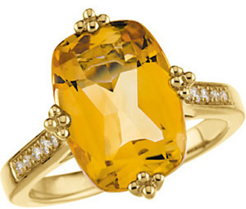 Dazzling 6.5ct 14x10mm Golden Citrine & Diamond Yellow Gold Cocktail in 14 kt - Inlaid Diamonds & Quarto-Style Prongs