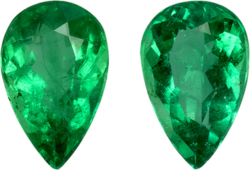 Vibrant Brazilian Emeralds in Well Matched Pair in Pear Cut, 8.1 x 5.2 mm, 1.8 Carats