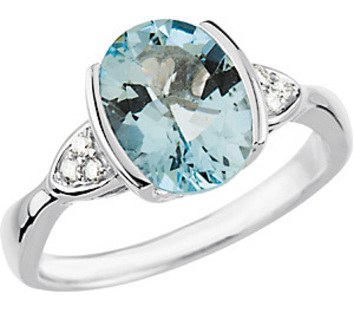 Contemporary Ring - Genuine 2.35ct 10x8mm Aquamarine Flanked By Diamond Triplets in 14kt White Gold