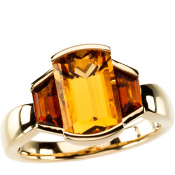 Glamorous 3.5 Bezel Set Gemstone Ring - Stunning Natural 11x7mm Citrine Flanked By Trapezoid Madeira Citrine Gold Ring - SOLD