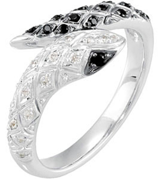 Blowout on Uncommon .18ct 1.2mm Black Spinel & 1/10 ct tw Diamond Snake Ring skillfully set in Sterling Silver - SOLD