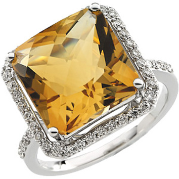 Stately Princess Cut Large 12mm 4.65ct Gem Golden Citrine - Framed by 46 Gorgeous Diamonds