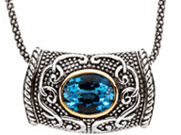 Remarkable 2.73ct 10x8mm Swiss Blue Topaz Necklace set in Sterling Silver and 14 karat Yellow Gold - Free Chain - SOLD