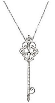 Feminine and Dainty .13ct Diamond Scroll Key Necklace in Sterling Silver - FREE Chain Included