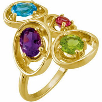 Unique and Beautiful Colorful Gemstone Ring with Topaz, Garnet, Peridot and Amethyst in 14 karat Yellow Gold