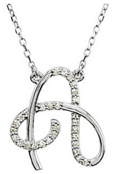 Gorgeous Cursive Style Initial Pendant With .1ct Diamond Accents in Sterling Silver - FREE Chain
