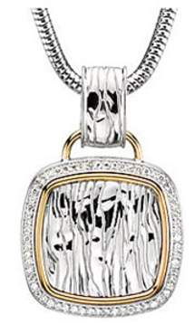 Unbelievable 1/3ct Textured Sterling Silver Square Pendant with Diamond Frame and 14k Yellow Gold Accents - FREE Chain