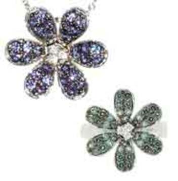 Gorgeous Alexandrite Flower and Pave Diamond Pendant and Ring. Save 10% on Entire Set.