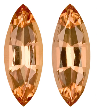 Pretty and Vibrant Pair of Peach Imperial Topaz Natural Unheated Gemstones for SALE,  Marquise Cut, 3.05 carats - SOLD