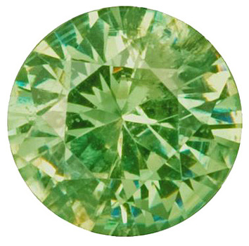 Beaming Loose Green Demantoid Garnet Gemstone - Intense Yellowish Green, Round Cut, 0.80 carats