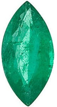 Emerald Stone, Marquise Shape, Grade A, 4.50 x 2.50 mm in Size, 0.13 Carats