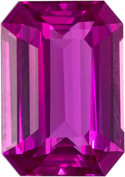 Stunner in Vivid Pink Gem Sapphire in Emerald Cut, Unheated GIA Stone in 7.26 x 5.1 x 3.19 mm, 1.23 carats