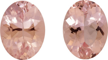 Stunning Morganite Matched Pair in German Cut Ovals, Rich Peachy Pink Color in 10.0 x 8.0 mm, 4.92 carats