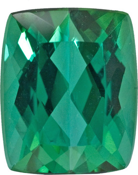 Fiery German Cut Blue Green Tourmaline Gem in Antique Cushion Cut, Blue Green, 11.6 x 9.4 mm, 5.84 carats