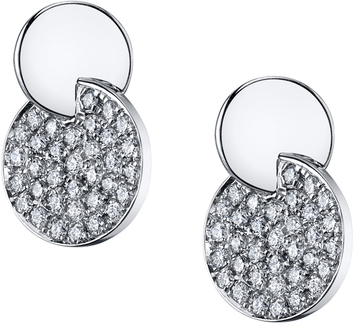 Fabulous Pave Diamond Earrings With Intersecting Discs in 18kt White Gold - 0.70ctw