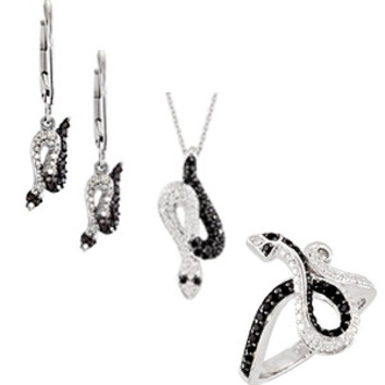 Striking Spinel and Diamond Snake Ring, Earrings and Pendant Trio. Save 10% on Entire Set. - SOLD