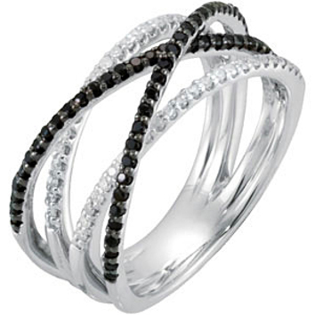 Stylish .7ct 1mm Black Spinel & 1/4 ct tw Round Shaped Diamond Ring skillfully set in Sterling Silver for SALE - SOLD