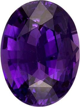 No Heat Vivid Rich Purple Sapphire Gem in Oval Cut, GIA, Stunning Stone in 11.86 x 8.85 x 5.29 mm, 4.59 carats