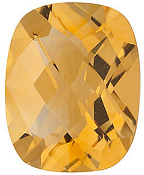 Top Quality Genuine Natural Antique Cushion Shape Checkerboard Citrine Gemstone Grade A, 8.00 x 6.00 mm in Size, 1.26 carats