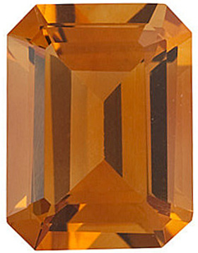 Top Quality Genuine Natural Emerald Shape Citrine Gemstone Grade AAA, 7.00 x 5.00 mm in Size, 0.9 carats