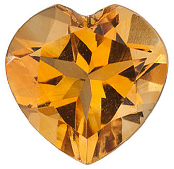 Top Quality Genuine Natural Heart Shape Citrine Gemstone Grade AA, 7.00 mm in Size, 1.07 carats
