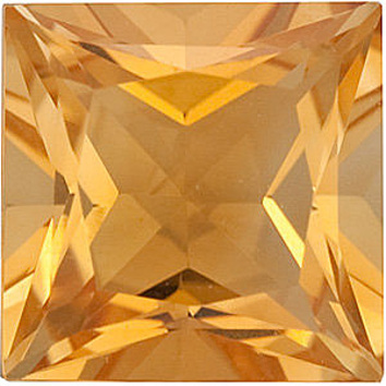 Genuine Calibrated Top Quality Princess Shape Citrine Gemstone Grade A, 6.00 mm in Size, 1 carats