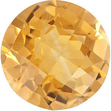 Calibrated Size Genuine Beautiful Round Shape Checkerboard Citrine Gemstone Grade A, 8.00 mm in Size, 1.75 carats