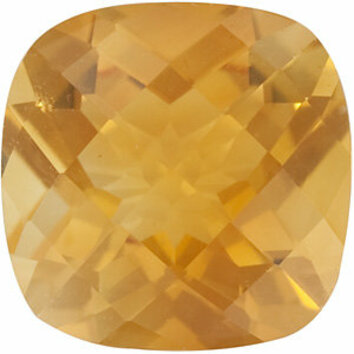 Genuine Calibrated Top Quality Antique Square Shape Checkerboard Citrine Gemstone Grade AA, 8.00 mm in Size, 1.95 carats