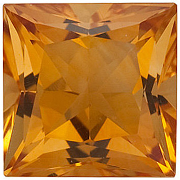 Natural Standard Size Loose Princess Shape Citrine Gemstone Grade AA, 5.00 mm in Size, 0.65 carats