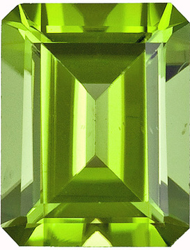 Fine Gem! Beautiful Peridot Faceted Gem for SALE! Emerald Cut, 2.43 carats