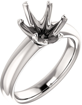 Unset Ring 6-Prong Classic Mounting in 14 Karat White Gold for Oval Shape Gemstone Sized 10.00 x 8.00 mm, Ring Size 7
