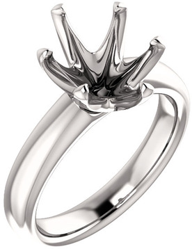Unset Ring 6-Prong Classic Mounting in 14 Karat White Gold for Oval Shape Gemstone Sized 11.00 x 9.00 mm, Ring Size 5