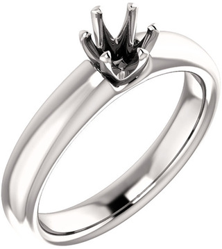 Unset Ring 6-Prong Classic Mounting in 14 Karat White Gold for Round Shape Gemstone Sized 4.80 mm, Ring Size 5
