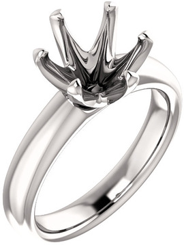 Unset Ring 6-Prong Classic Mounting in 14 Karat White Gold for Round Shape Gemstone Sized 9.00 mm, Ring Size 7