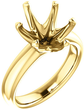 Unset Ring 6-Prong Classic Mounting in 14 Karat Yellow Gold for Oval Shape Gemstone Sized 12.00 x 10.00 mm, Ring Size 8