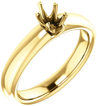 Unset Ring 6-Prong Classic Mounting in 14 Karat Yellow Gold for Oval Shape Gemstone Sized 6.00 x 4.00 mm, Ring Size 5