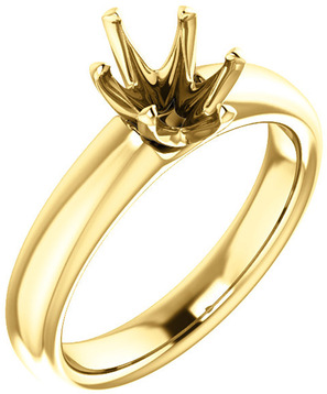 Unset Ring 6-Prong Classic Mounting in 14 Karat Yellow Gold for Oval Shape Gemstone Sized 8.00 x 6.00 mm, Ring Size 8