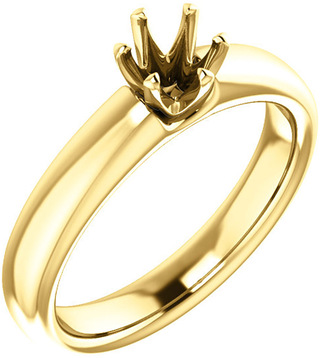 Unset Ring 6-Prong Classic Mounting in 14 Karat Yellow Gold for Round Shape Gemstone Sized 4.80 mm, Ring Size 6