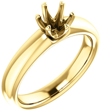 Unset Ring 6-Prong Classic Mounting in 14 Karat Yellow Gold for Round Shape Gemstone Sized 5.50 mm, Ring Size 6